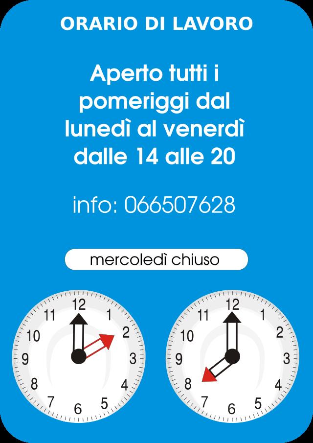Lo studio dentistico del Dott. Luigi Sorrentino di Fiumicino è aperto dal lunedì al venerdì dalle ore 14 alle 20, mercoledì chiuso. Per informazioni telefonare al n. 066507628.